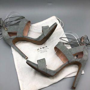 Zara Trafulac suede ankle wrap heels / sandals